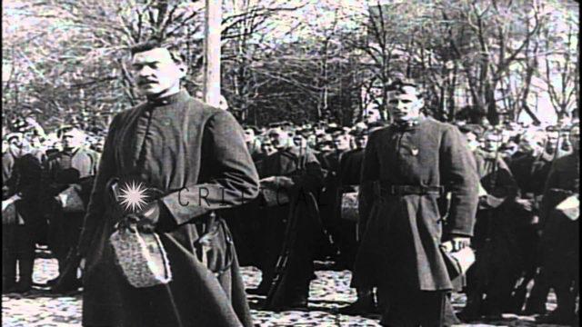 Franz Joseph I of Austria, Czar Nicholas of Russia review their forces and US Nav...HD Stock Footage