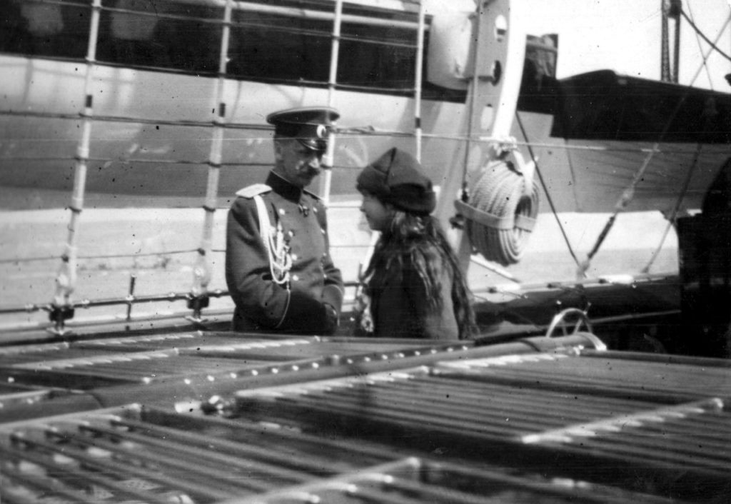 "Grand Duchess Anastasia Nikolaevna with a yacht officer aboard the Imperial Yacht ""Standart"". 1914 year."
