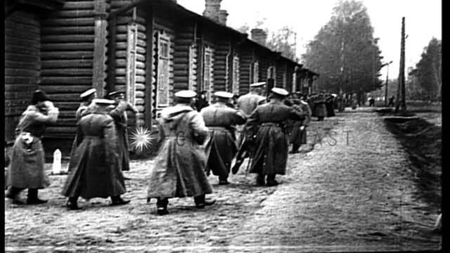 Grand Duke Nicholas being escorted by the Russian officers and reviews the soldie...HD Stock Footage