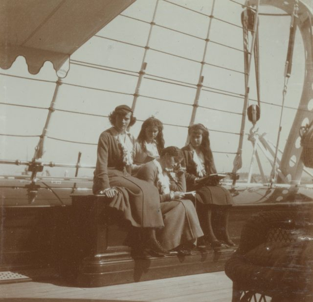 "Grand Princess Tatiana, Maria, Olga and Anastasia aboard the Imperial yacht ""Standart""."