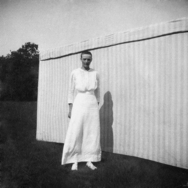 Grand Princess Tatiana Nikolayevna on a walk after illness. 1913 year.