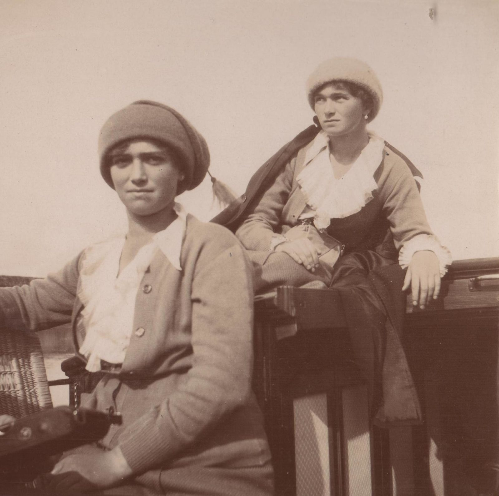 "Grand Princesses Olga Nikolayevna (right) and Maria Nikolaevna on the boat of the Imperial yacht ""Standart""."
