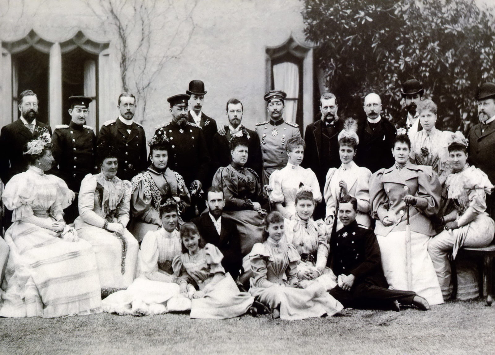 Heir Tsesarevich Nikolai Alexandrovich and Hessian Princess Alice after the betrothal, surrounded by relatives.