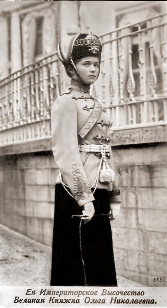 Her Imperial Highness Grand Duchess Olga Nikolaevna in the uniform of the Chief of the 3rd Hussar Elisavetgrad Regiment.