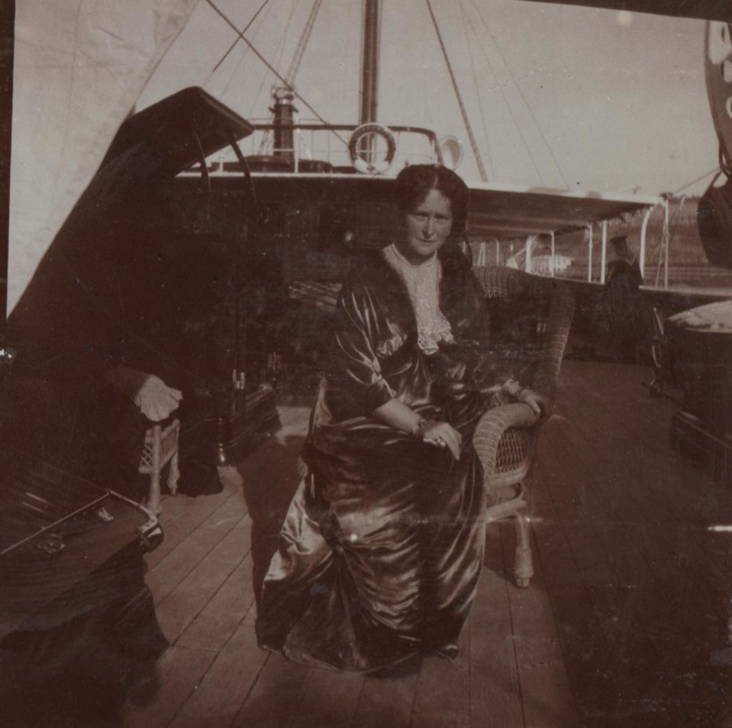 """Her Imperial Majesty Empress Empress Alexandra Feodorovna aboard the Imperial yacht """"Standart"""". 1914 year."""