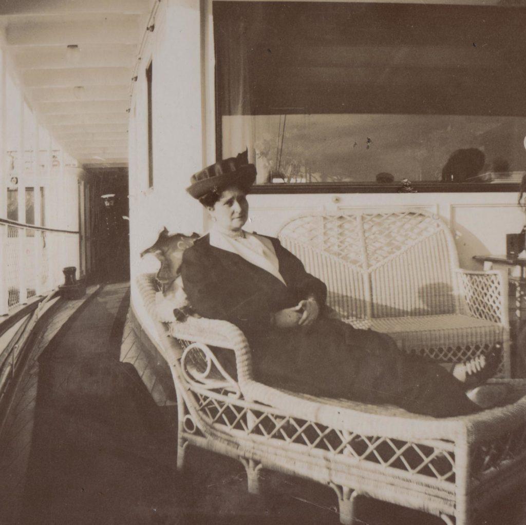 "Her Imperial Majesty Empress Empress Alexandra Feodorovna aboard the Imperial yacht ""Standart"". 1913"
