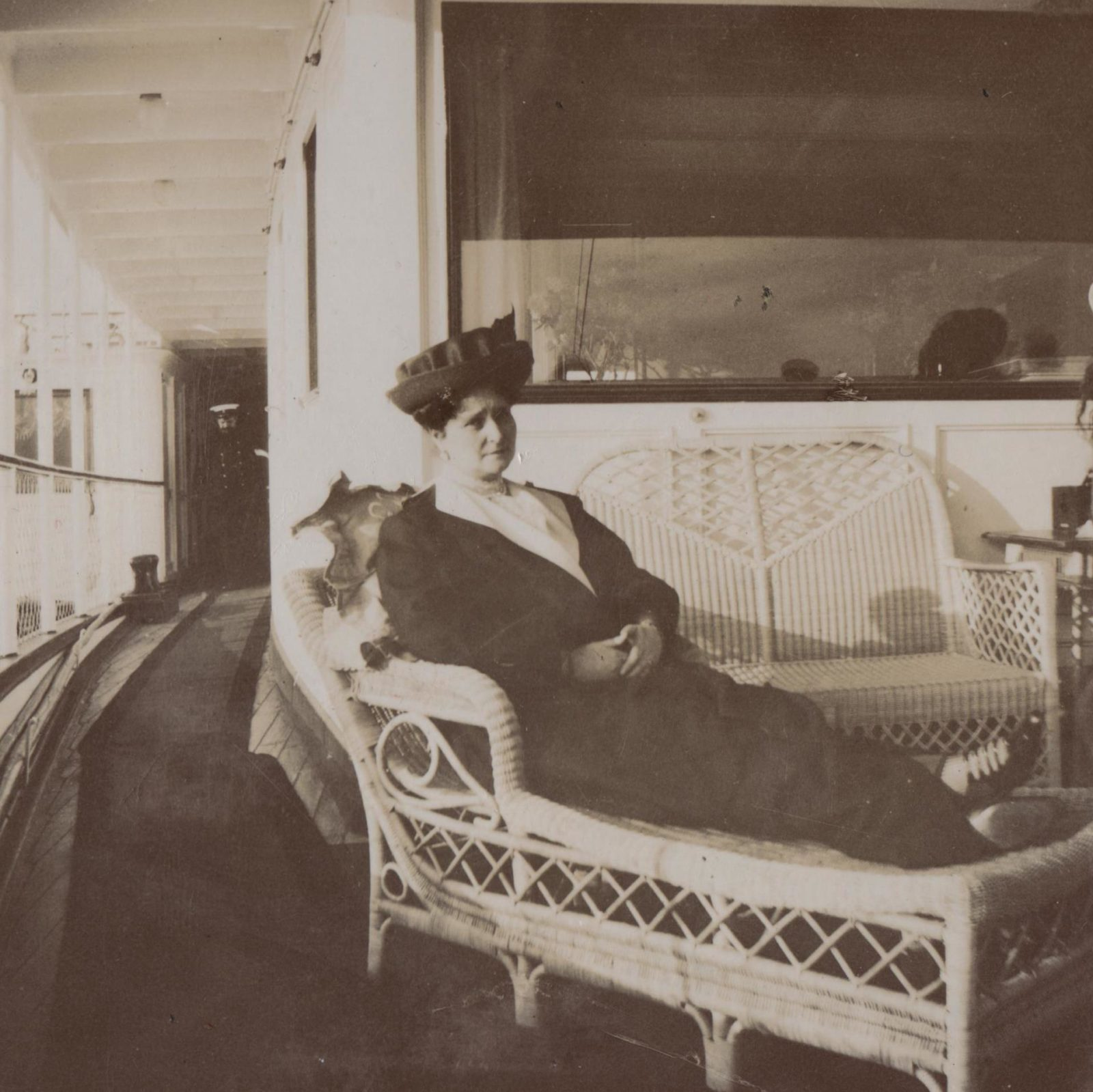 "Her Imperial Majesty Empress Empress Alexandra Feodorovna aboard the Imperial yacht ""Standart"". 1913"