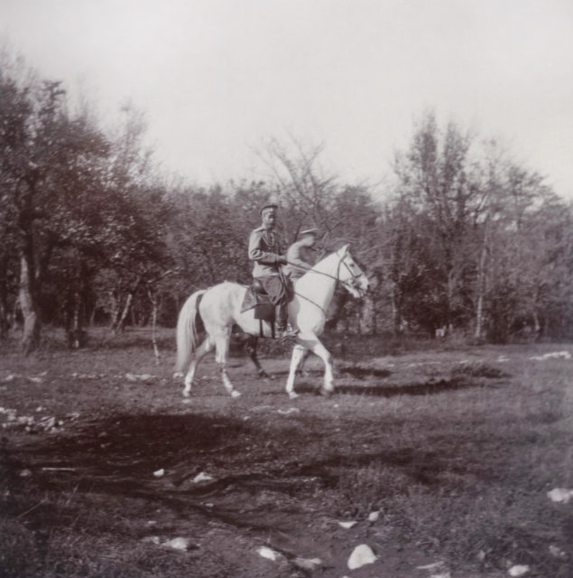 His Imperial Majesty the Emperor Nicholas Alexandrovich (Nicholas II) on a horse walk.