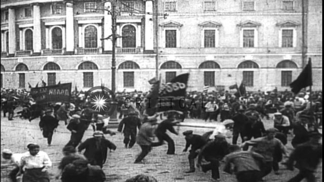 Lenin's activities early in 1917. Mass demonstrations.Shooting at crowd. Lenin cl...HD Stock Footage