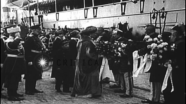 Military and civil authorities greet Tsar Nicholas,Tsarina Alexandra, and Tsarevi...HD Stock Footage