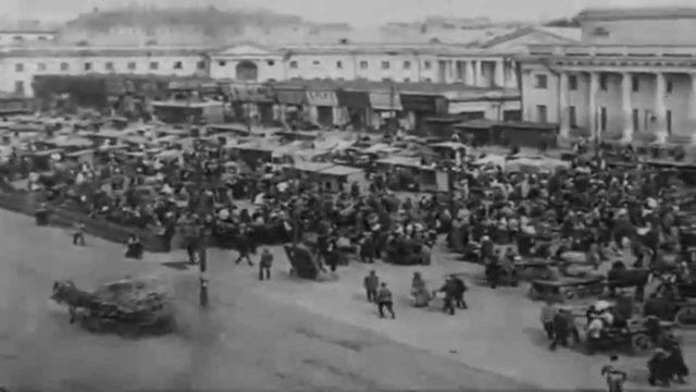 Moscow. Sukharevskaya Square. Sretenka. Newsreel 1918 year.