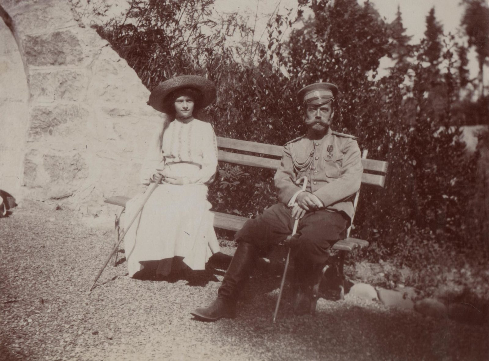Emperor Nicholas II and his daughter Tatiana.