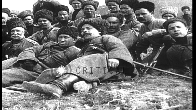 Russian Cossacks on the Western front during World War I. They pose for the camer...HD Stock Footage