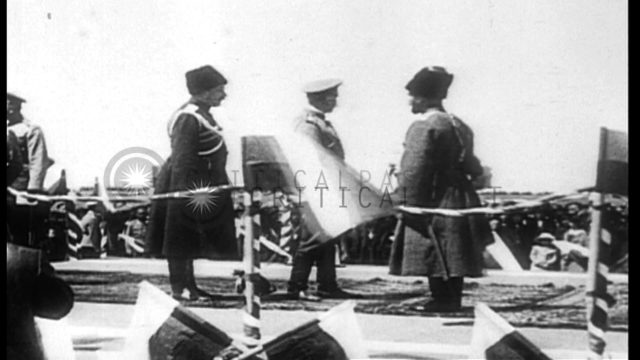 Russian Emperor Nicholas II arrives to inspect his troops during World War I. HD Stock Footage