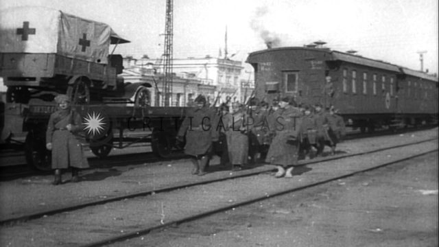 Siberian Intervention in World War One. Czech Legions and U.S. troops at railroad...HD Stock Footage