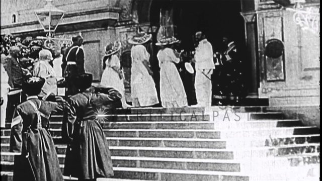 The Czar of Russia and his wife during a ceremony at their palace, during the Oct...HD Stock Footage