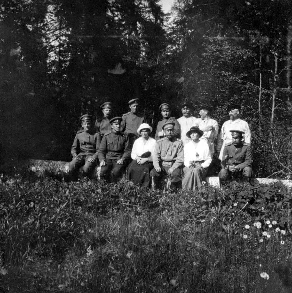 The Imperial Prisoners Emperor Nicholas II and his daughters The Grand Duchess Olga Nikolayevna (right) and Maria Nikolayevna (left) on a walk in the Park of Tsarskoe Selo.