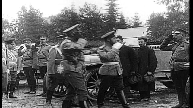 Tsar Nicholas II of Russia reviews drivers and vehicles in World War I. HD Stock Footage
