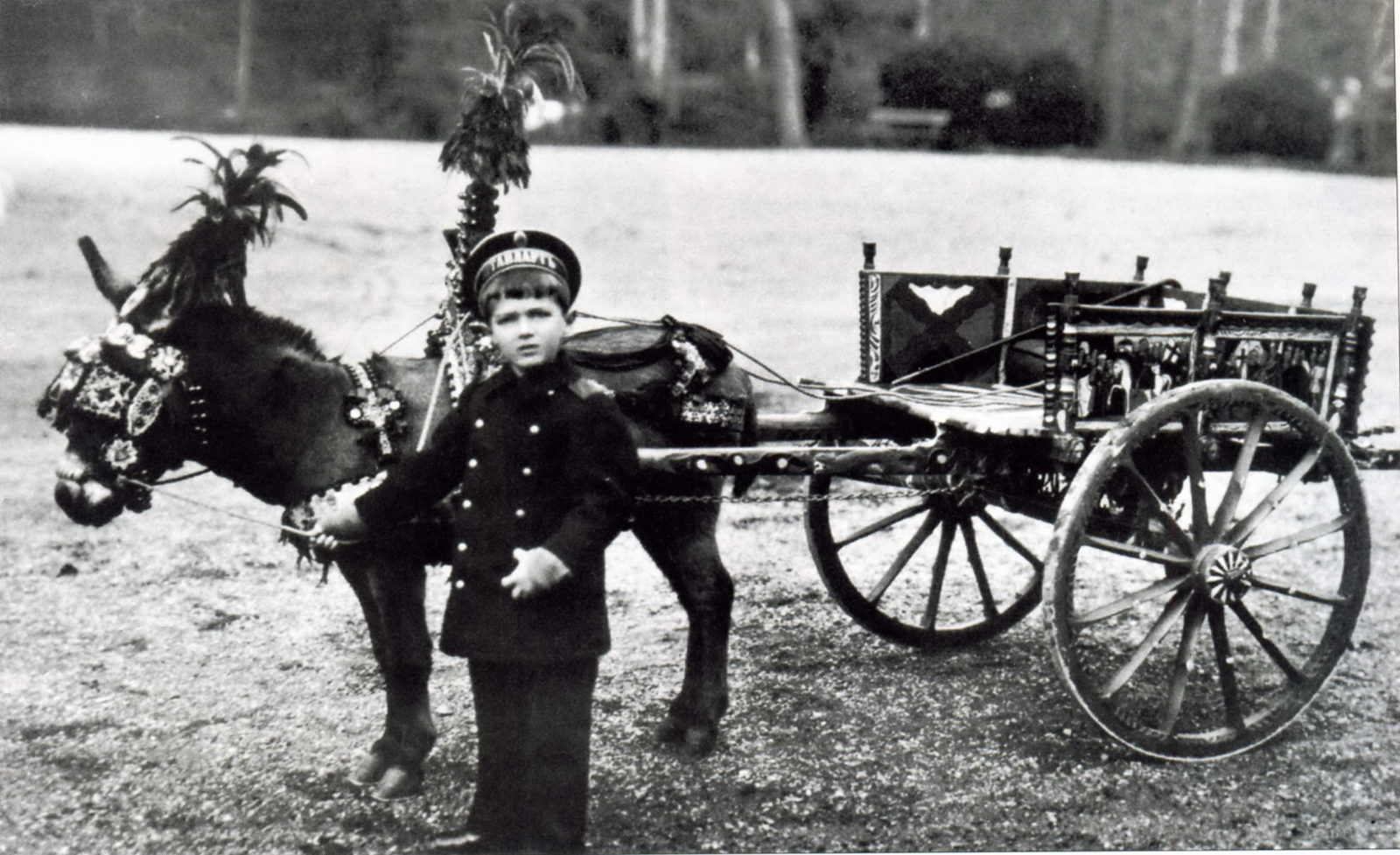 Tsarevich Alexei Nikolayevich on a walk with his pet donkey Vanka.