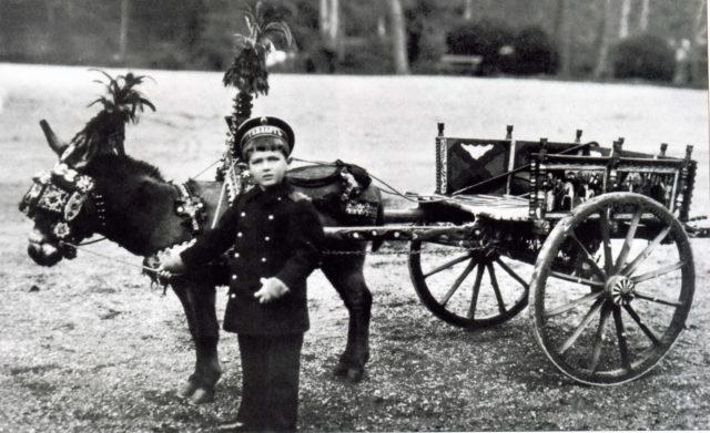 Tsarevich Alexei Nikolayevich on a walk with his pet donkey Vanka.