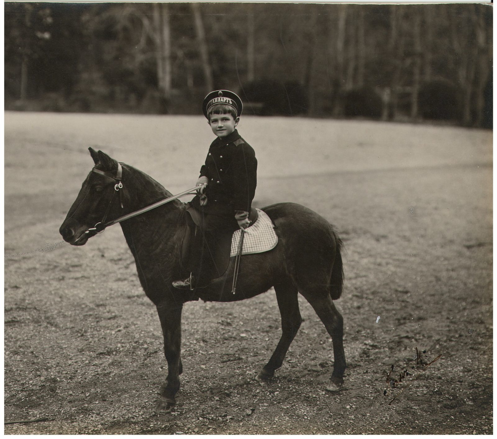 Tsarevich Alexey Nikolayevich is riding a pony.