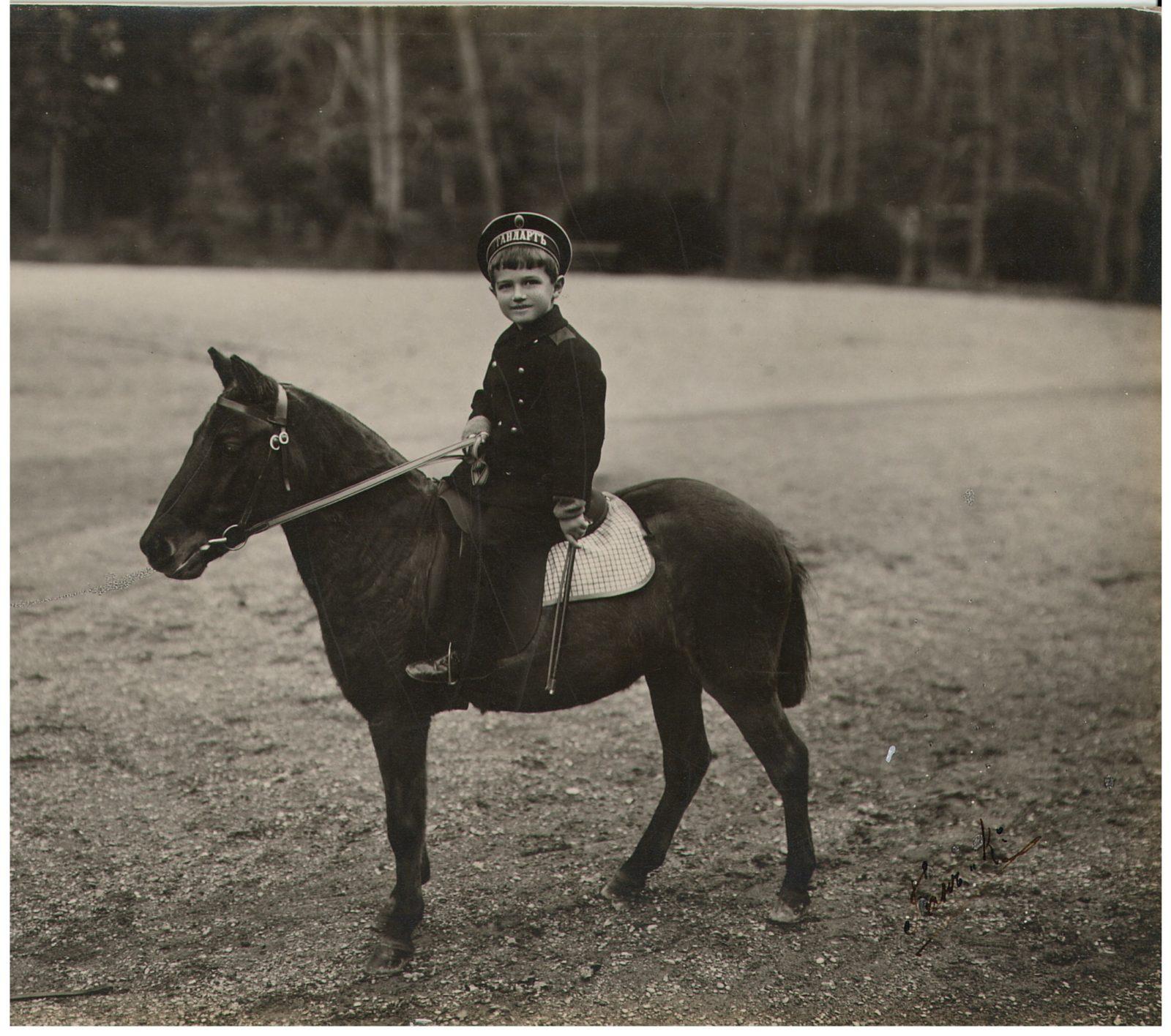 Tsarevich Alexey Nikolayevich is riding a pony.