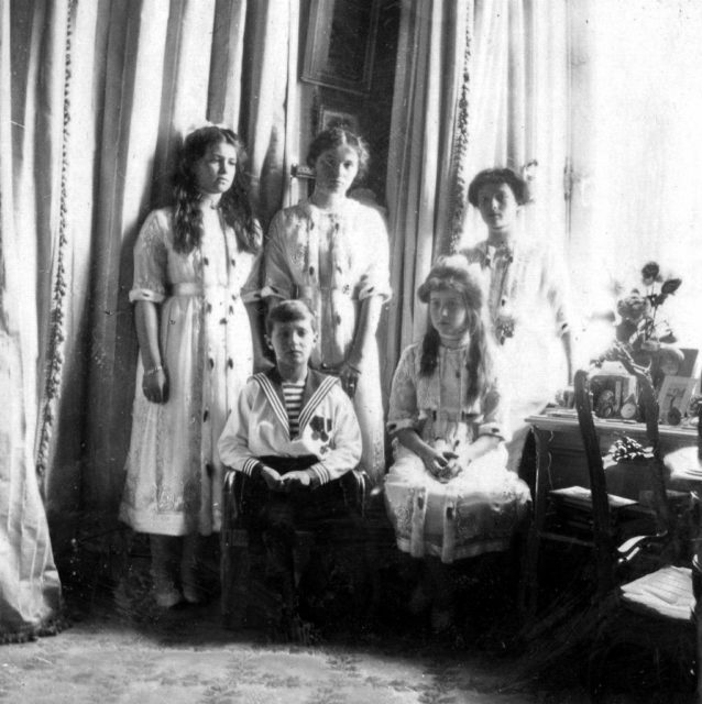 Tsesarevich Alexei Nikolaevich and the Grand Princesses Maria, Olga, Anastasia and Tatiana.