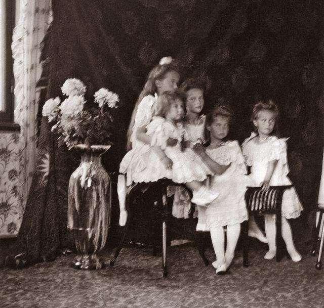Tsesarevich Alexei Nikolayevich and the Grand Princesses Olga, Tatiana, Maria, Anastasia.