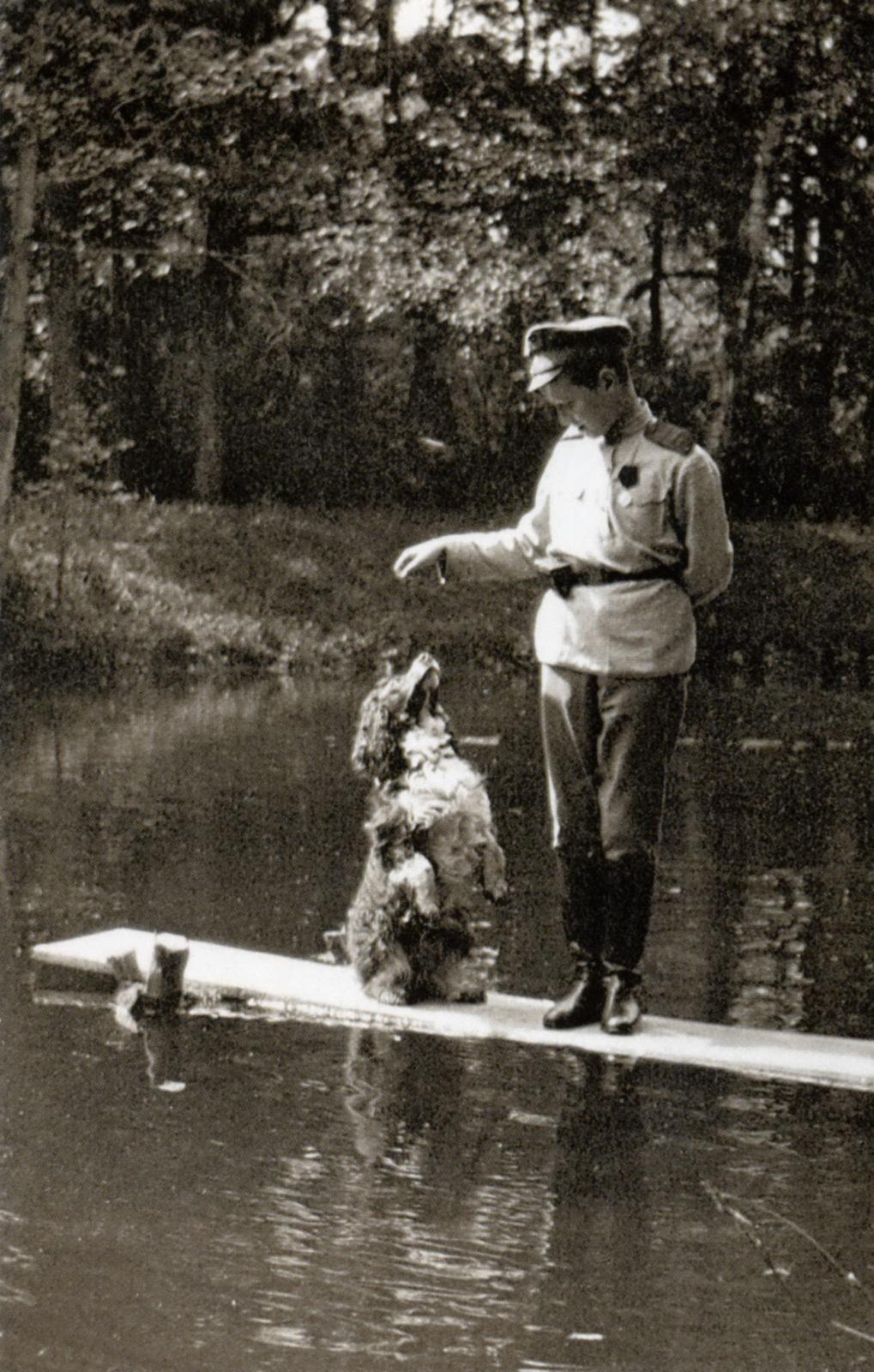 Tsesarevich Alexei with Joy . Tsarskoe Selo. 1917.