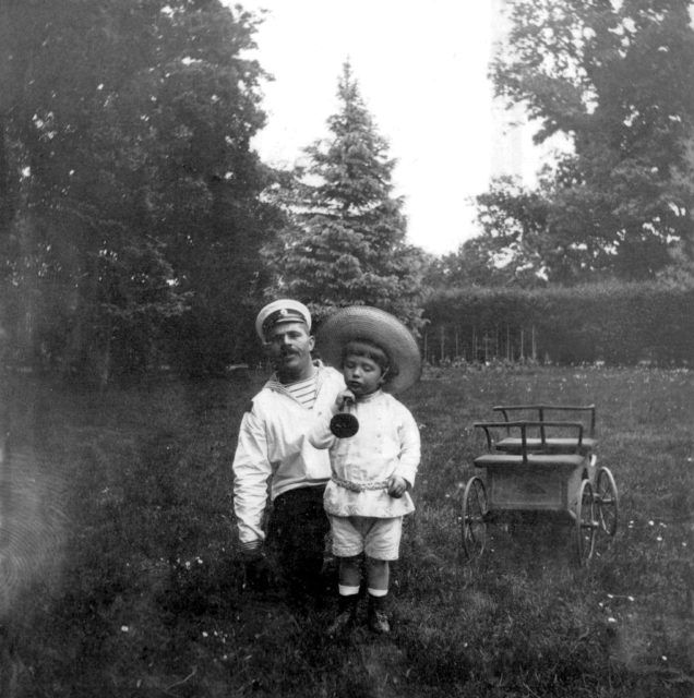 Tsesarevich Alexey with boatswain Dereven'ko.