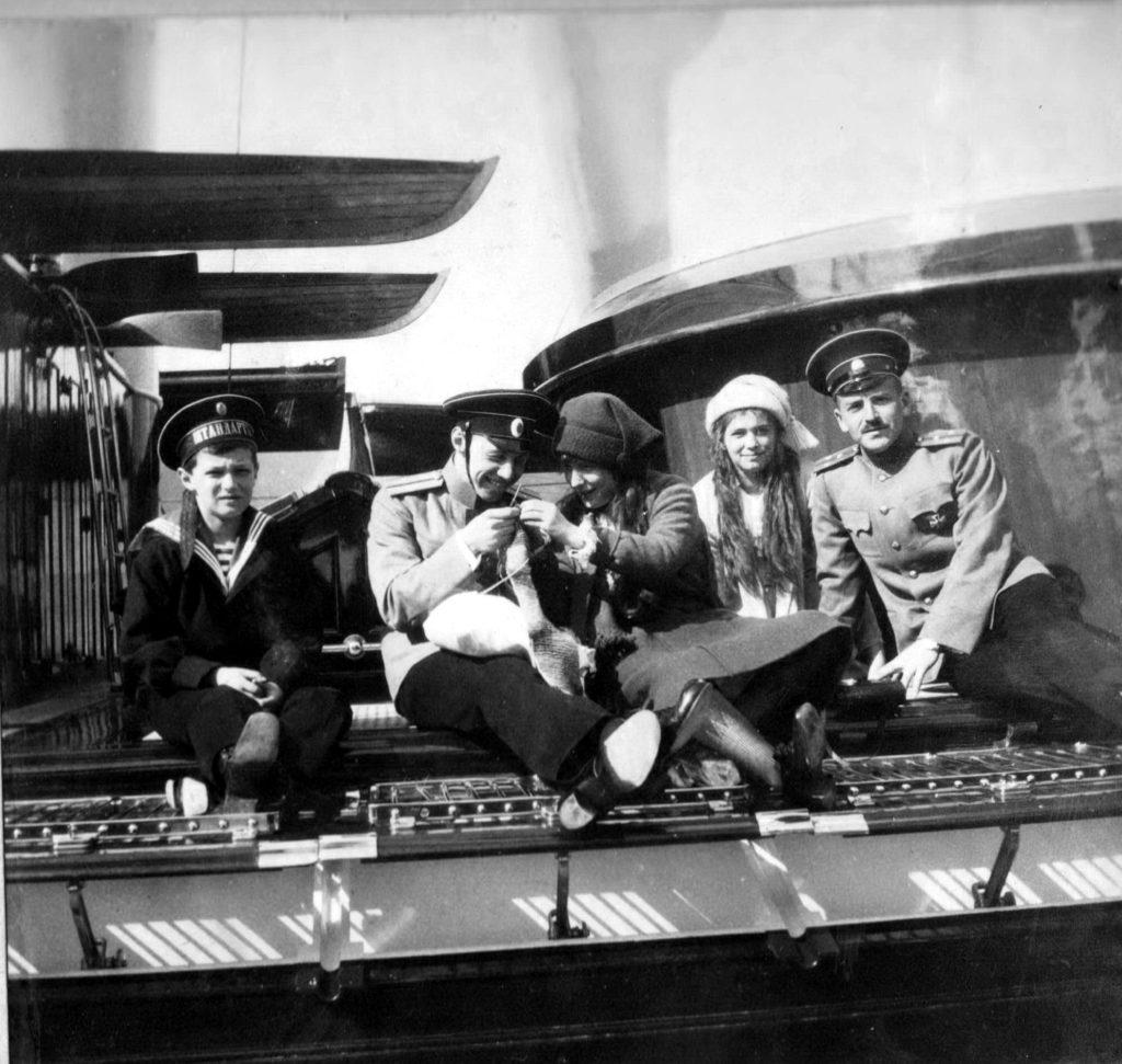"Tsesarevitch Alexei with Grand Duchesses Maria and Anastasia on board of ""Standart "". 1914."