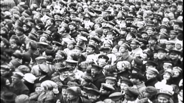 White Guards parade at their headquarters in Alexander Palace near St Petersburg,...HD Stock Footage