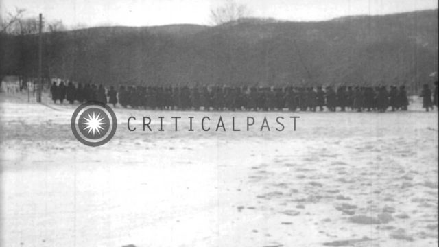 White Russian troops parade and demonstrate bayonet use in Siberia HD Stock Footage