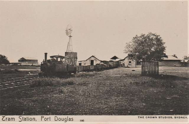 Tram Station at Port Douglas, Qld - very early 1900s