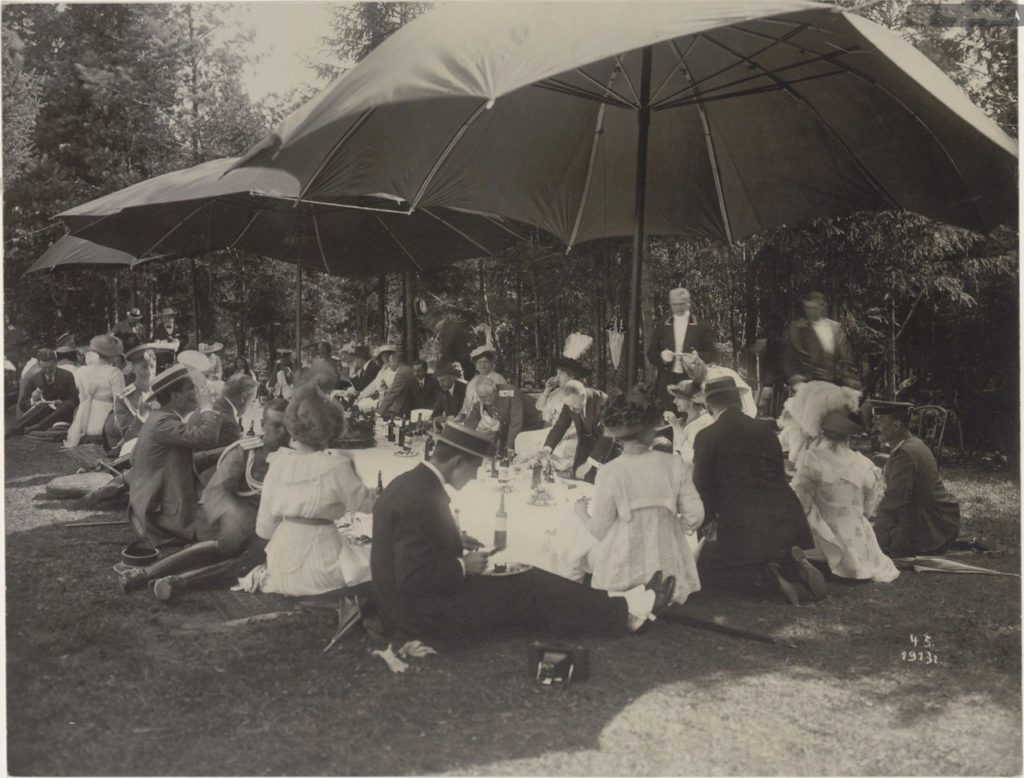 Grand Duchess Maria Pavlovna. Romanovs at a picnic. Summer of 1913.
