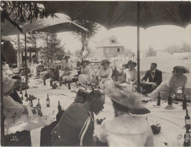 Grand Duke Andrei Vladimirovich and Grand Duchess Victoria Augusta. Romanovs at a picnic. Summer of 1913.