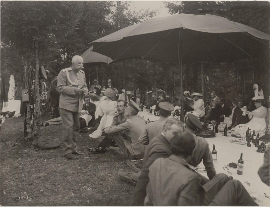 Grand Duke Andrei Vladimirovich. Romanovs at a picnic. Summer of 1913.