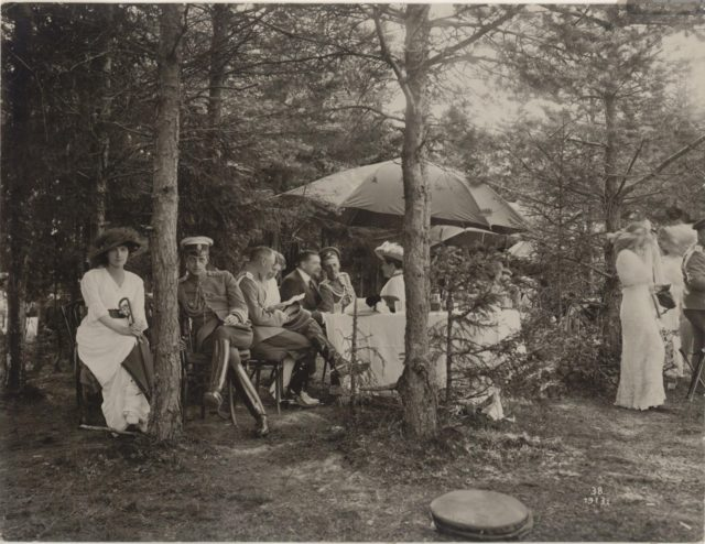 Grand Duke Dmitry. Family and the Romanovs at a picnic. Summer of 1913.