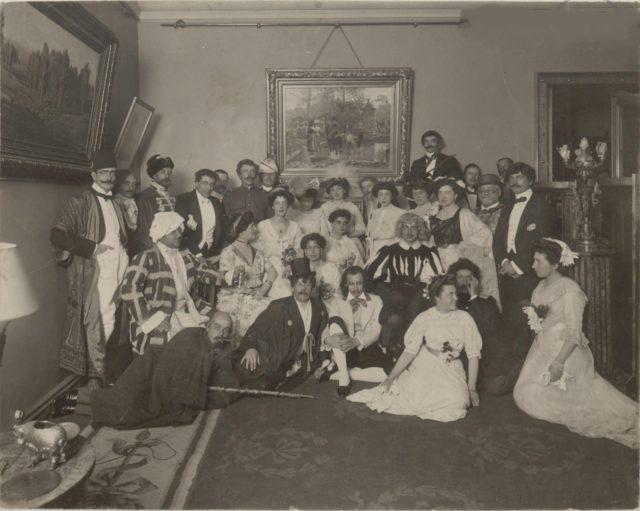 Great Princess Elena Vladimirovna, Victoria-Augusta, Olga Orlova among participants of the masquerade. Romanovs at a picnic. Summer of 1913.