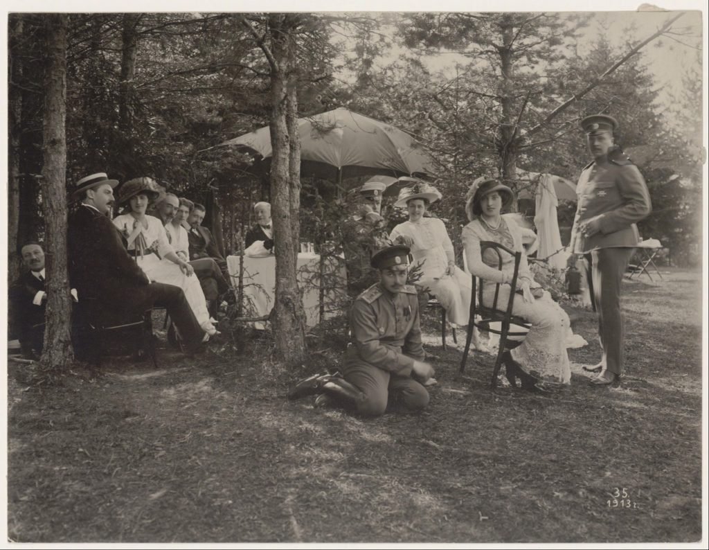 Romanovs at a picnic. Summer of 1913.