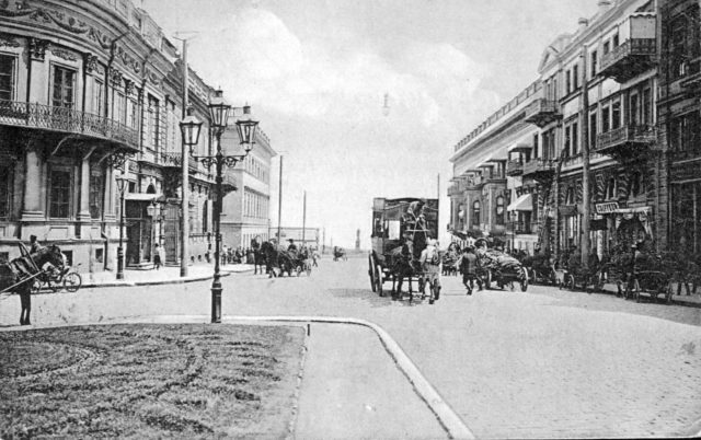 Ekaterininskaya square and view of Nikolaevsky boulevard, Odessa, 1900-1914