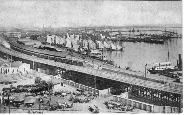 Quarantine harbor and marina of sailing ships. Odessa, 1900-1914