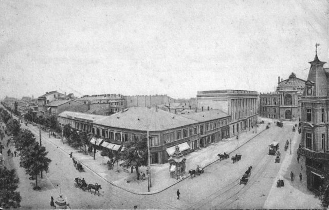 View of Deribasovskaya and Reshelevskaya streets, Opera Theater, Odessa, 1900-1914