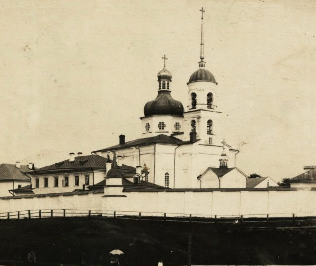 Holy Trinity Convent in Shenkursk, Arkhangelsk Oblast, Russia, located on the right bank of the Vaga River.