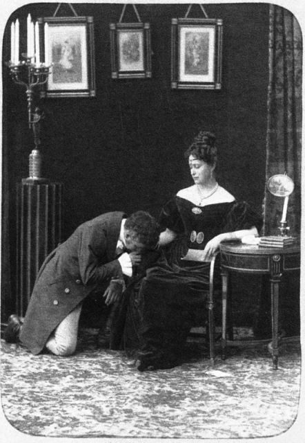 "A scene from an amateur performance ""Eugene Onegin""."