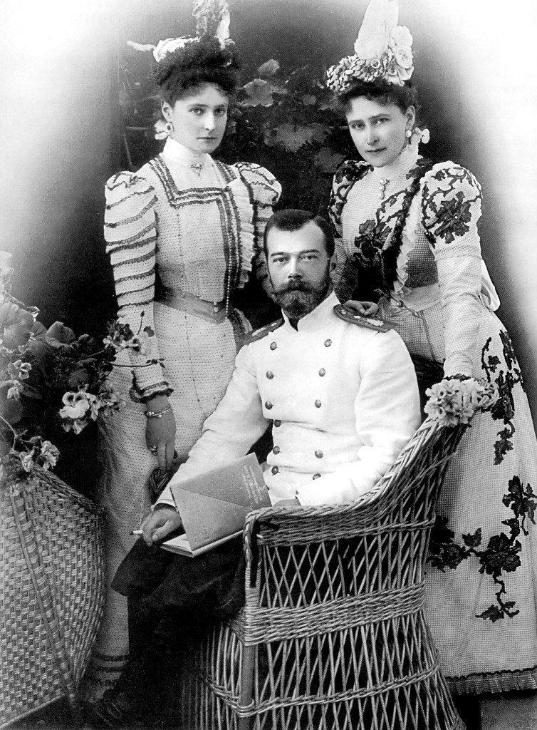Emperor Nicholas II, Empress Alexandra Feodorovna and Grand Duchess Elisaveta Feodorovna.