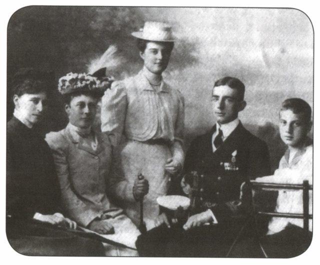 Grand Duchess Elisaveta Feodorovna, sister of Princess Victoria of Hesse-Darmstadt,, Grand Duchess Maria Pavlovna, (?), Grand Duke Dmitry Pavlovich.