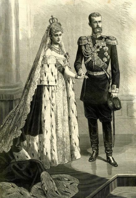 Grand Duke Sergei Alexandrovich with the bride - Grand Duchess Elizabeth Feodorovna.