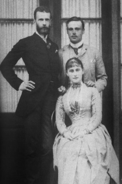 Grand Duke Sergei Alexandrovich and Grand Duchess Elizabeth Feodorovna with Ernst Ludwig of Hesse - brother of Elizabeth Feodorovna. 1885