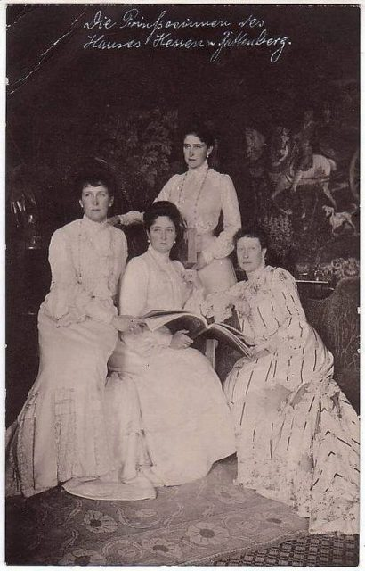 Hessian sisters: Princess Irena, Empress Russian Alexandra Feodorovna, Grand Duchess Elisaveta Feodorovna (standing), Princess Victoria.